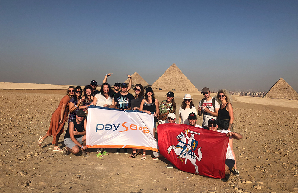 Paysera next to Egyptian pyramids